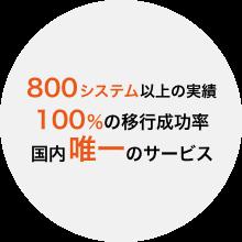 移行実績450台以上 移行成功率100% 国内唯一のサービス
