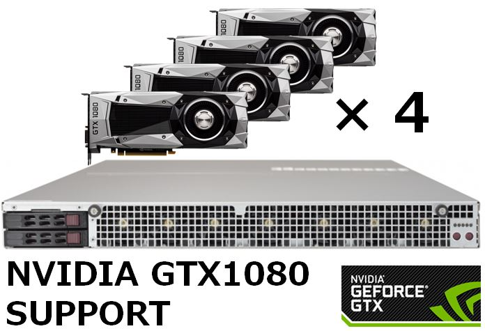 【1U / GTX1080 4基搭載モデル】SolutionHPC 30222P64-A12WTARB-1080