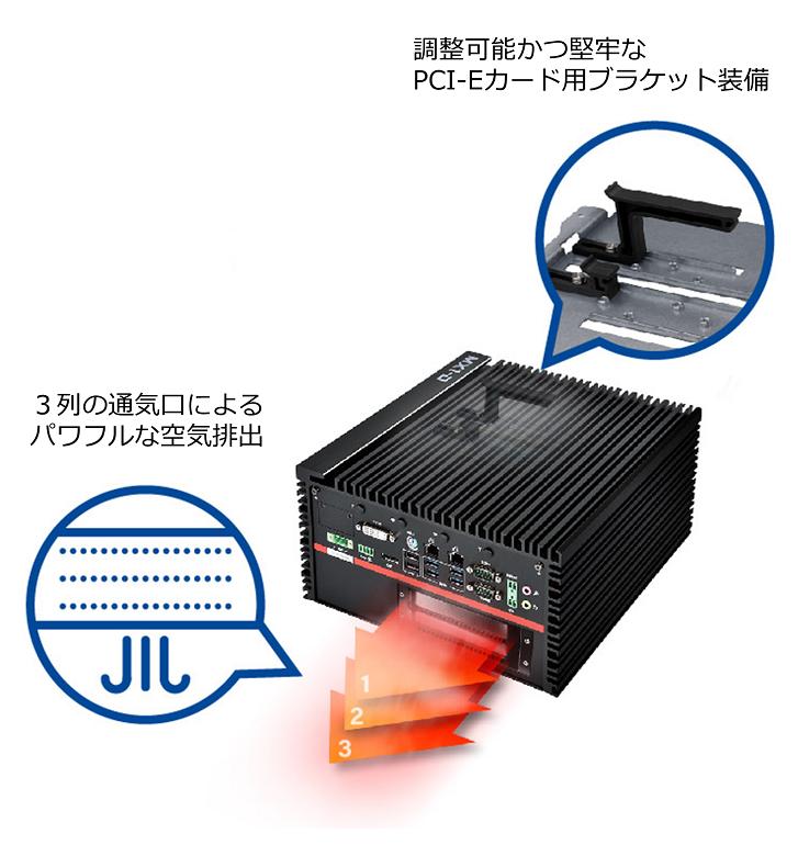 PPCI-Eカード用ブラケット装備、パワフルな空気排出
