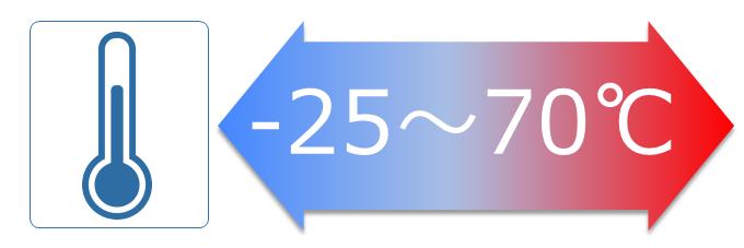 -25~70℃の広い動作温度範囲