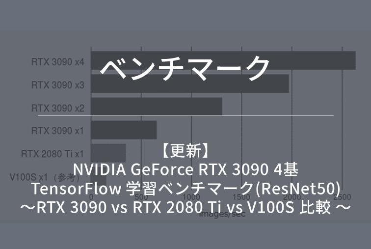 【ベンチマーク(更新)】NVIDIA GeForce RTX 3090 4基 TensorFlow 学習ベンチマーク(ResNet50) ~RTX 3090 vs RTX 2080 Ti vs V100S 比較 ~