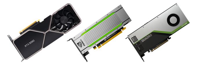 GeForce RTX 3080, T4, Quadro RTX